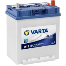 Аккумулятор VARTA Asia Blue Dynamic 40 Ач, 330 А (А13), обратная полярность, тонкие клеммы, нижний борт ²