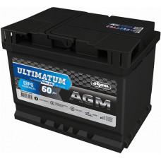 Аккумулятор ULTIMATUM EURO 60 Ач, 680 А AGM, обратная полярность ⁵